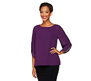Bob Mackies Embellished Sleeve Top with Side Slits - A259459