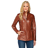Dennis Basso Lamb Leather Zip Front Jacket with Stand Collar - A261159