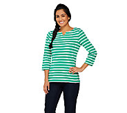 Liz Claiborne New York Essentials Striped Split Neck Top - A261259