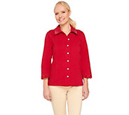 Quacker Factory DreamJeannes Smile N Style Scalloped Eyelet Jacket - A263559