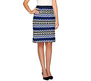 Linea by Louis DellOlio Knit Zigzag Pattern Pencil Skirt - A265559