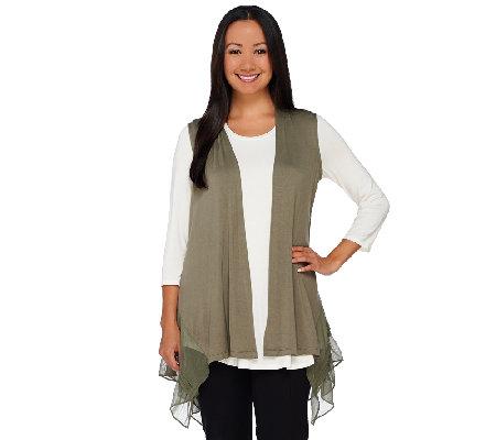 logo by lori goldstein knit vest with pleated chiffon hem qvc com