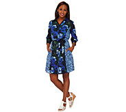 Isaac Mizrahi Live! Engineered Floral Shirt Dress - A266959