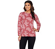 Denim & Co. Floral Jacquard Round Neck Long Sleeve Top - A270159