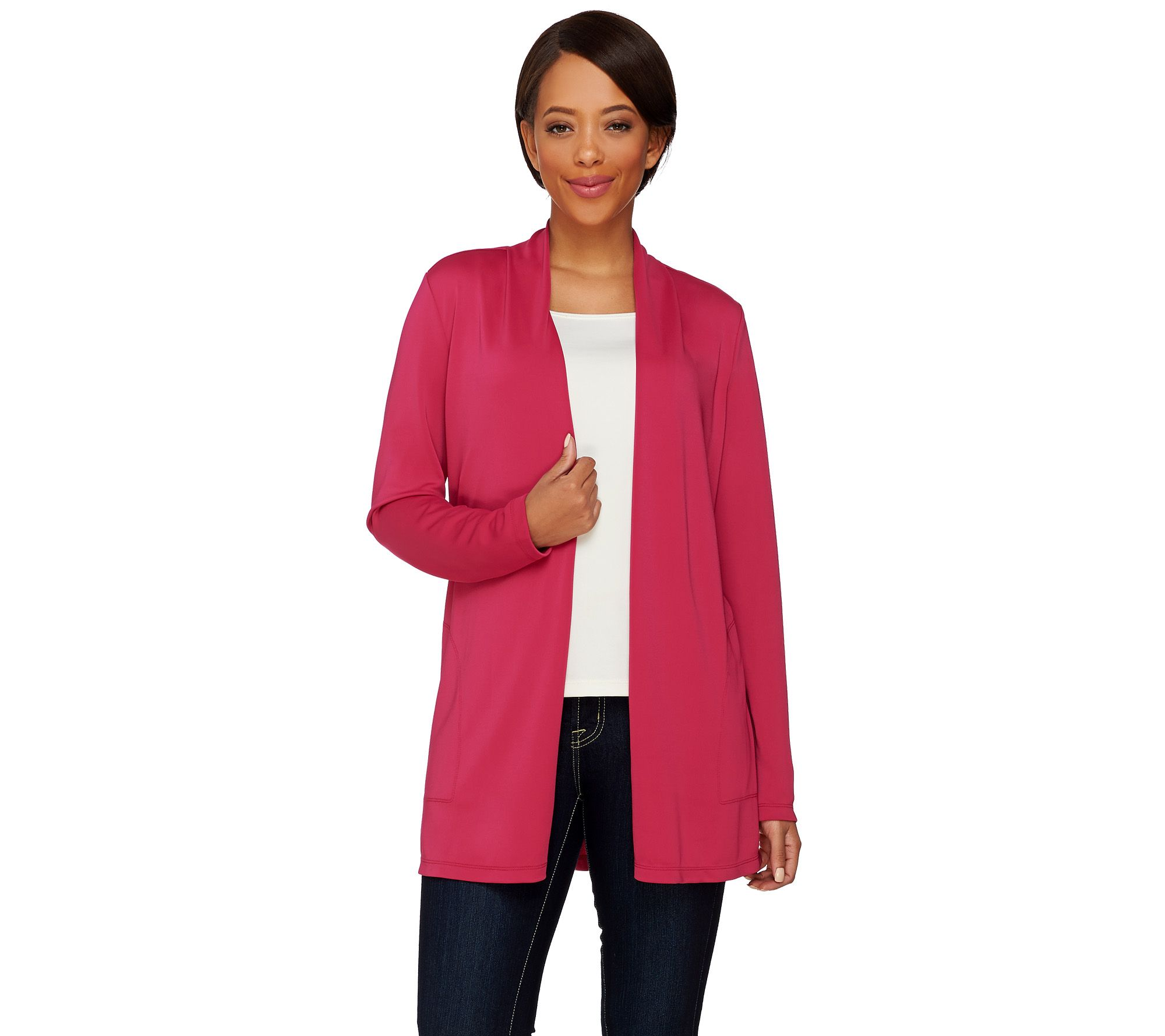 Susan Graver Premier Knit Open Front Cardigan w/ Button Detail - A272359