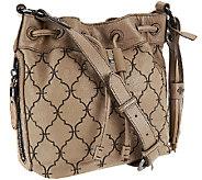 As Is orYANY Pebble Leather Bucket Crossbody -Kyra - A274459