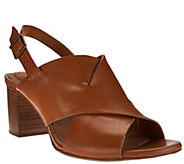 Clarks Artisan Leather Cross Band Block Heel Sandals - Ralene Vive - A275959