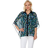 Bob Mackies Animal Printed Button Front Caftan Top and Tank Set - A276559