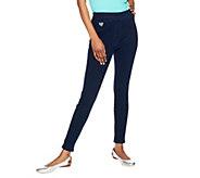 As Is Quacker Factory DreamJeannes Short Knit Denim Leggings - A278059
