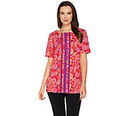 Bob Mackies Ponte Knit Printed Top with Grosgrain Stripe Detail - A278159