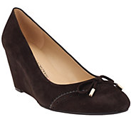 As Is Isaac Mizrahi Live! Suede Round Toe Wedges w/ Bow Detail - A278759