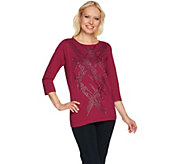 Bob Mackies 3/4 Sleeve Studded Front Knit Top - A279159
