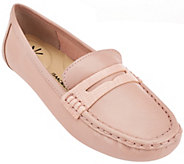 As Is Isaac Mizrahi Live! Leather Moccasins with Snake Trim - A279259