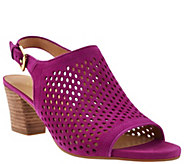 As Is Franco Sarto Suede Perforated Sandals - Monaco 2 - A284459