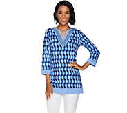 C. Wonder Geo Print Split V-neck Tunic - A286459