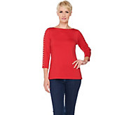 Susan Graver Butterknit 3/4 Sleeve Top with Stud Trim - A286559