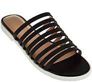 As Is H by Halston Strappy Leather Flat Slide - Cora - A287559