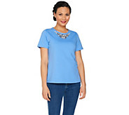 Susan Graver Artisan Embellished French Terry Top - A287659
