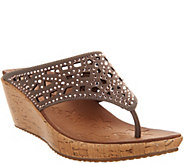 Skechers Wedge Thong Sandals w/ Rhinestones - Dazzled - A287759