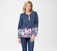 Bob Mackies Diagonal Stripe Multi-Floral Ponte Knit Jacket - A288459