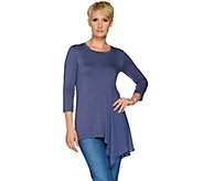 As Is LOGO by Lori Goldstein Knit Top with Woven Side Godet - A288559