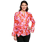 As Is Status by Star Jones Floral Print Pleated Blouse - A290959