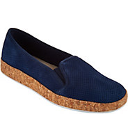 Isaac Mizrahi Live! Perforated Suede Slip-On Cork Sneakers - A291359