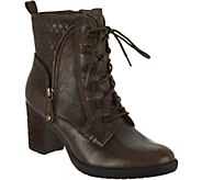 Earth Leather Block Heel Lace-up Ankle Boots - Missoula - A296859