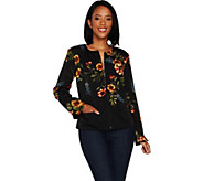 GRAVER Susan Graver Printed Stretch Woven Cropped Jacket - A297159