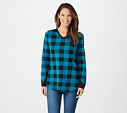 Denim & Co. Buffalo Plaid Jersey V-Neck Long Sleeve w/ Rib Trim Tunic - A298059