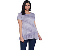 LOGO by Lori Goldstein Printed Short Sleeve Top w/ Lace & Hem Dtl - A302459
