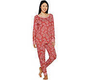 As Is Carole Hochman Petite Floral Paisley Interlock Lounge Set - A306559