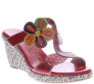 Spring Step L'Artiste Leather Wedge Sandals - Riviera