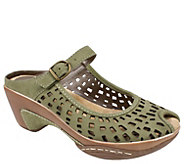 White Mountain Perforated Leather Mules - Marvy - A336959