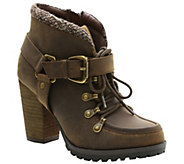 Kensie Lace-up Leather Booties with Lug Outsole- Dalla - A338159