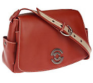 Giorgio G Leather Flap Satchel with Single Adjust. Handle - A71859