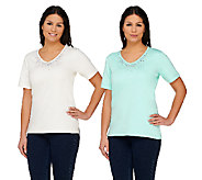 Quacker Factory Set of 2 Multicolor Sparkle & Shine Knit Tops - A76459