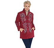 Bob Mackies Embroidered Fleece Jacket with Quilted Collar - A11560