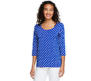 Susan Graver Liquid Knit U-Neck Top with Dot Print and 3/4 Sleeves - A201960