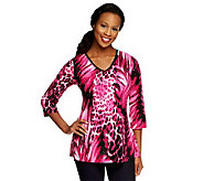 Susan Graver Liquid Knit Animal Print V-neck Tunic with Sparkles - A210860