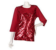 Quacker Factory Sequin Diamond 3/4 Sleeve T-Shirt - A217160