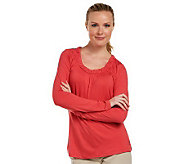 Liz Claiborne New York Gathered Scoopneck T-Shirt - A219160