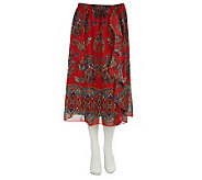 Linea by Louis DellOlio Paisley Border Print Skirt w/Ruffle - A226260