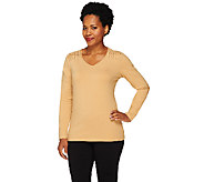 Liz Claiborne New York Long Sleeve T-Shirt with Knot Detail - A227960