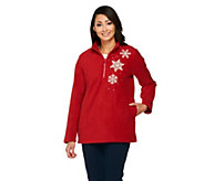 Quacker Factory Rhinestone 1/2 Zip Embellished Fleece Pullover - A228160