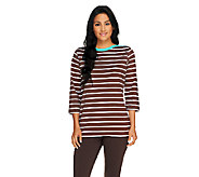 Denim & Co. 3/4 Sleeve Bateau Neck Striped Knit Top - A230860