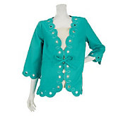 Bob Mackies Scallop Hem Embroidered Jacket with Drawstring - A232560