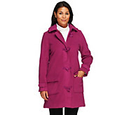 As Is Denim & Co. Micro- Fleece Lined Toggle Coat w/ Removable hood - A235860