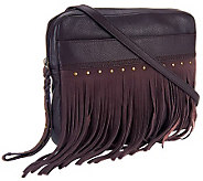 Muxo by Camila Alves Soft Pebble Leather Fringe Crossbody - A237460
