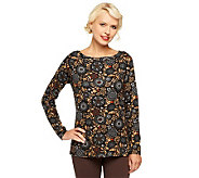 Liz Claiborne New York Boatneck Printed Knit Tee - A237760